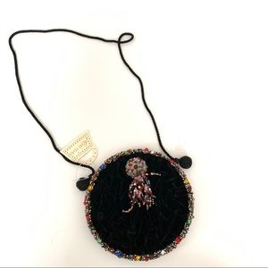 Mary Frances Round Circle Beaded Purse Black 312